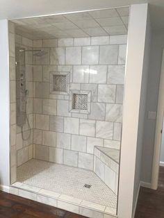 White Tile Kerdi Drain Schluter Board Shower Niche Curb And Bench