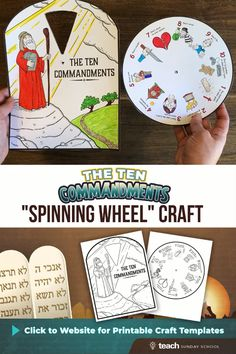 This Sunday School craft is a great way to teach kids about the 10 commandments. You can grab the printable templates on our website- print out a copy for each child, have them color, cut, and then attach both pages together with a little brad fastener! Kids Sunday School Lessons, Sunday School Crafts For Kids, Bible School Crafts, Sunday School Activities, Children's Sunday School, Bible Activities For Kids, Bible Crafts For Kids, Preschool Bible, Bible Lessons For Kids