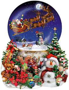 Santa's Snowy Ride - Holiday Shaped Jigsaw Puzzle - 1000 pc by SunsOut Inc Made with pride in the USA Designed by Lori Schory. Not your ordinary rectangle shaped Puzzle! This Big Snow Globe Shaped Puz Christmas Jigsaw Puzzles, Christmas Puzzle, Christmas Snow Globes, Noel Christmas, Christmas Scenes, Christmas 2019, White Christmas, Santa Snow Globe, Christmas Gifts For Parents