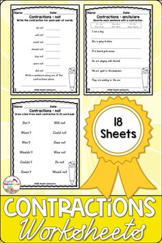 Contractions sheets include matching, rewriting and making sentences. 18 worksheets in all. Answer key included. Contraction Worksheet, Making Sentences, Spelling And Handwriting, Powerpoint Games, Common Core Ela, Sixth Grade, Teacher Resources, Social Studies