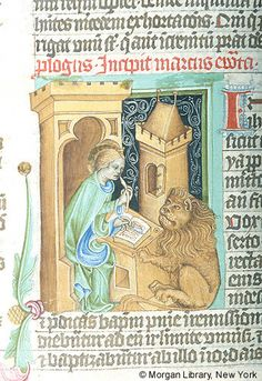 Bible, MS M.833 fol. 316v - Images from Medieval and Renaissance Manuscripts - The Morgan Library & MuseumEvangelist Mark, nimbed, is seated at desk, holding quill in right hand and scraper in left hand. Two inkpots are in de