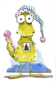 Original watercolor art painting Lucia Stewart whimsical Dragon morning coffee #IllustrationArt