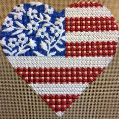 "What a gorgeous stitching job on this #kirkandbradley #starsandstripes #heart #needlepoint canvas by our friend Lisa L. Abrams! #ndlpt  Floral Flag- Stars & Stripes Heart  by Kirk & Bradley Style: KH092 Size: 5"" x 5"" Mesh: 18"