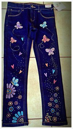 Painted Jeans, Painted Clothes, Floral Print Pants, Printed Pants, Denim Crafts, Patchwork Jeans, Denim Bag, Diy Clothing, Vintage Sewing