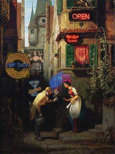 Carl Spitzweg, Der ewige Hochzeiter im Rotlichtmilieu (um 1860) – diverse Lichtreklameanlagen