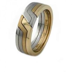 Yellow White Two Colored Gold 4 Band Puzzle Ring Rings