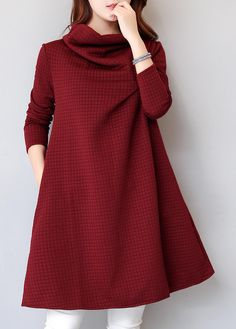High Neck Solid Burgundy Long Sleeve Pocket Dress on sale only US 25.53  now 9f65c98b8