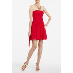 I like this red BCBG strapless dress. It is simple and cute! I like the statement gold necklace but I'm not a fan of the gold strappy sandals because they are a bit ugly and I would have went with a better gold sandal. That is just my opinion but I adore the dress and necklace!