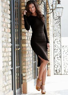 A very sexy dress with a very interesting hem style (Ruched Uneven Hem Dress#Venus)