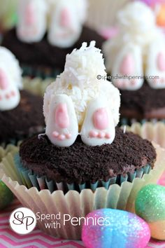 Bunny Butt Cupcakes Cute little bunny tooshies top your favorite chocolate cupcakes!  This is such a fun Easter treat! Love it?  Pin it to SAVE it! Follow Spend With Pennies on Pinterest for more great recipes!  You can use any type of chocolate cupcakes to put these together (homemade, store bought or boxed). For the bunny body I used a melon baller to scoop out small balls of white cake (you can also use a small ice cream scoop).  Don't  {Read More}