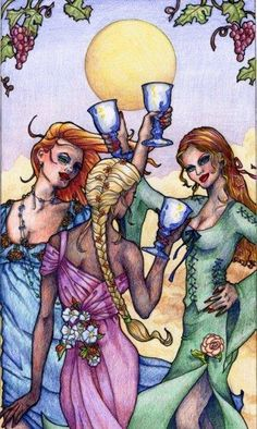 Three of Cups imagery.
