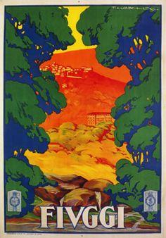 Tv83-Vintage-1928-Fiuggi-LAZIO-ITALIANO-ITALIA-TRAVEL-poster-A2-A3-RISTAMPA