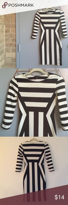 H&M bodycon jail break dress Black and white pattern - bodycon style with three quarter sleeves -worn once H&M Dresses Mini