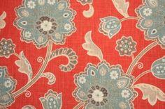 Braemore Ankara Printed Linen Blend Drapery Fabric in Scarlet $11.95 per yard
