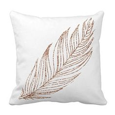 Generic Rose Gold Faux Glitter Feather Throw Throw Pillow...