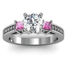 Pink Sapphire Princess Cut Pavé Diamond Engagement Ring set in 18k White Gold  In stockSKU: S1002-PS-18W