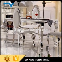 Wholesale half moon glass table heavy dining table and chair CT003