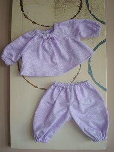 "Handmade Doll Clothes for 12"" - 14"" Baby Dolls - Purple Polka Dot 2-pc Pajamas  #HandmadeDollClothes"