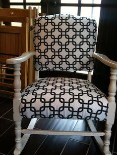 Vintage rocking chair repurposed in geometrics