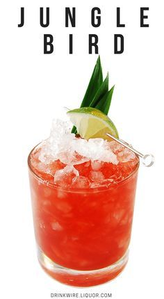 A tiki classic, the Jungle Bird is a rum cocktail you wont be able to put down. Pineapple juice, lime and Campari add beautiful hues and citrus notes to this delicious drink. Rum Cocktails, Rum Cocktail Recipes, Cocktail Drinks, Alcoholic Drinks, Beach Cocktails, Bacardi Drinks, Bartender Drinks, Gold Drinks, Hey Bartender
