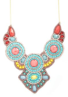 Bring the bling with cute and unique necklaces from ModCloth. Shop our selection of necklaces - including pendants, chunky styles, statement pieces & more. Unique Necklaces, Jewelry Necklaces, Vintage Necklaces, Diy Jewelry, Bijou Box, Beaded Statement Necklace, Peach Necklace, Tribal Necklace, Bijoux Diy