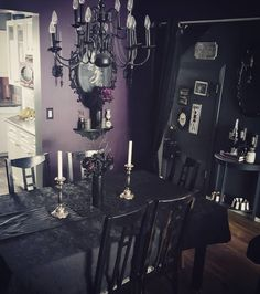 "202 Likes, 12 Comments - Britt (@creepyghoulie) on Instagram: ""My wee dining room. Chairs are 95% finished. #paintitblack #blackpaint #goth #gothic #gothichome…"""