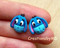 winnie the pooh stud earrings polymer clay fimo by CreationsbyMD