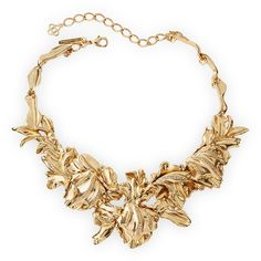 Oscar De La Renta Golden Tulip Pave Statement Bib Necklace ($792) ❤ liked on Polyvore featuring jewelry, necklaces, accessories, jewels, joias, light gold, jewel bib necklace, bib necklace, floral statement necklace and swarovski crystal necklace
