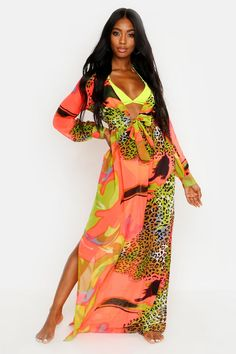 Beach Kaftan, Beach Kimono, Plus Size Formal Dresses, Dress Plus Size, Kimono Design, Motifs Animal, Beachwear For Women, Colourful Outfits, Fashion Face