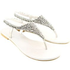 71fe3d615c32 Womens Diamante Panel Flat Toe Post Sandals Silver  Amazon.co.uk  Shoes