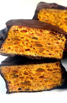 Homemade Sponge (aka Honeycomb) Candy. These are so interesting looking that I might need to try making them.