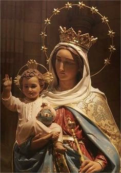 Mother Mary our Queen and the Wise and Loving Saviour King of the World Jesus Christ our Lord. I have no idea where this beautiful painted sculptured statue is located. Blessed Mother Mary, Blessed Virgin Mary, Catholic Art, Religious Art, Roman Catholic, Saints, Queen Of Heaven, Mama Mary, Holy Mary