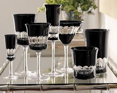 Williams-Sonoma Black Cut Crystal Glassware