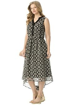 Women's Plus Size Y-Neck Georgette Dress Black Print,14 W *** Want additional info? Click on the image.
