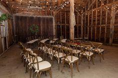 #Crossback #chairs #bistro lights #barn #wedding