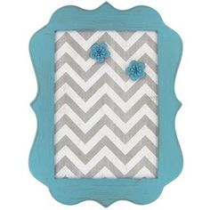 White & Gray Chevron Message Board with Turquoise Frame | Shop Hobby Lobby