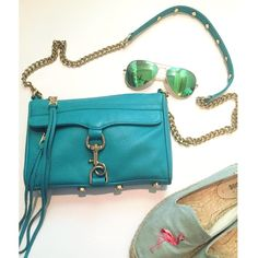 HOST PICK! Rebecca Minkoff Mini Mac Gently used less than 10 times. authentic Rebecca minkoff sea green mini mac with gold hardware. Includes dust bag where it has always been stored while not being used as well as stuffed with tissue to hold shape. Such a gorgeous color! Shows light wear on corners and minor scratches on hardware typical of use. In great condition! Let me know if you have any questions! NO TRADES!😊 Rebecca Minkoff Bags