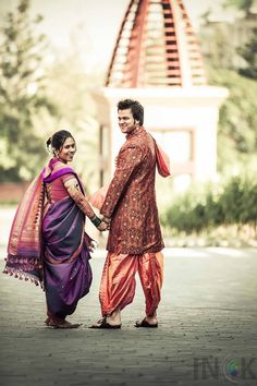 Maharashtrian Couple Ruta and Aditya, with the Bride in Beautiful Pink and Purple Nauvari Saree Pre Wedding Poses, Wedding Couple Poses Photography, Outdoor Wedding Photography, Marathi Bride, Marathi Wedding, Saree Wedding, Marriage Poses, Marriage Stills, Candid Wedding Photos