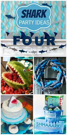 A shark themed boy birthday party with donut life preservers, shark cupcakes, and sand pail party favors!  See more party planning ideas at CatchMyParty.com!
