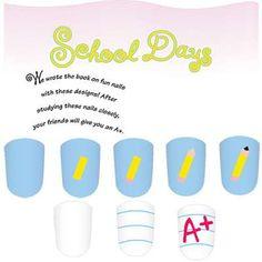 School Days kid's nail art designs includes a pencil, paper, and top grades.