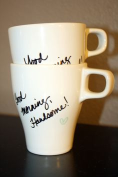 His and Hers Handwritten Morning Coffee Cups. $10.00, via Etsy.