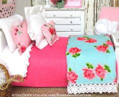 Spring Roses Bedding and Miniature Dollhouse by RibbonwoodCottage