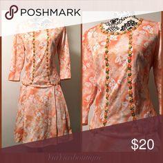 Vintage 1960's orange Mode Dress Vintage 1960's Orange with 3-D Flowers on Top, MODE DRESS! .  Size: Med/1XL  Bust: up to 42 Waist: Up to 40 (Depends on how you wear it)  Length: 42 Top-bottom Vintage Dresses