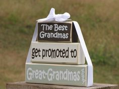 "2nd Pregnancy Announcement. Wooden Blocks stack:""The Best Grandmas Get Promoted to Great-Grandmas AGAIN"" - Gift for Grandma or Great-Grandma..."