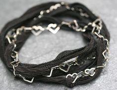 Black Ribbon and  Sterling Heart Chain Bracelet