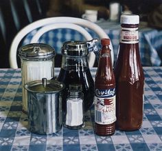 Ralph Goings, Still life with hot sauce.  this is a painting..awesomeness.