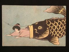 "This is 1900-1945 Art postcard""Carp eats kimono girl "".  This is very funny title!"