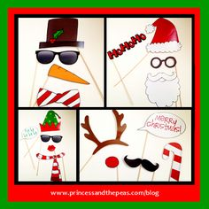 DIY Christmas Photo Booth Props  #christmasphotoboothprops Christmas Photo Booth Props, Diy Photo Booth, Photo Booths, Holiday Party Themes, Christmas Party Decorations, Office Christmas, Christmas Art, Party Props, Party Ideas