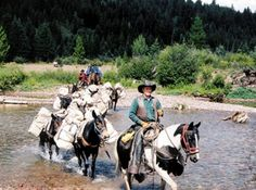 Pack trip through Bob Marshall Wilderness Cowboy Gear, Cowboy And Cowgirl, Big Sky Country, Country Charm, Old West Town, Cowboy Images, Ranch Life, Trail Riding, Wyoming