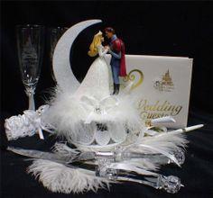 Disney Sleeping Beauty set Wedding Cake Topper LOT Glasses knife book Fairytale